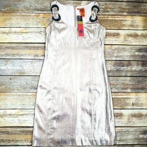 NWT Tory Burch Silver & Gold T Bay Dress